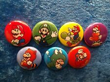 "1"" pinback button set inspired by classic Super Mario Brothers Nes Nintendo"
