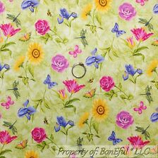 BonEful Fabric FQ Cotton Quilt Green Yellow Pink Lily Flower Butterfly Bee Girl