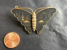 Beautiful Vintage Japanese Damascene Gold Tone Butterfly Brooch Pin