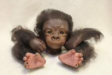 Kit de gorila de Reborn Kiwi despierto pintado y arraigados