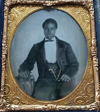 AFRICAN AMERICAN BLACK SLAVE MAN BOOKS LITERATE 1/6 CASE AMBROTYPE PHOTO #A64