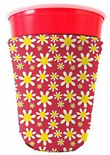 Coolie Junction Flower Pattern Solo Cup Coolie, Neoprene Collapsible