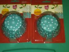 NIP 2 PACKS OF 24 CHRISTMAS CUPCAKE LINERS BLUE WITH WHITE SNOWFLAKES CAKE MATE