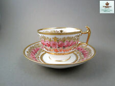 Antique bone china tea cup saucer Spode England c.1890, hand painted roses