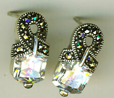 925 Sterling Silver Cubic Zirconia & Marcasite Stud Earrings  length 18mm 11/16""