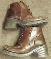 Ladies Vintage 90s Kickers Moccasin Brown Leather Lace Up Ankle Boots UK 5/EU38