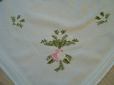 Vintage Christmas Xmas Embroidered cotton Tablecloth Table runner