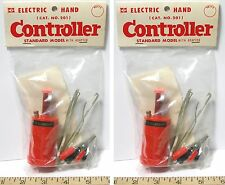 2pc Vintage TRADESHIP 1/24 1/32 Slot Car STANDARD CONTROLLER Wh +Alligator Clips