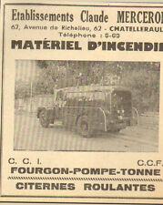 86 CHATELLERAULT ETS MERCERON MATERIEL INCENDIE SAPEURS-POMPIERS PUBLICITE 1955