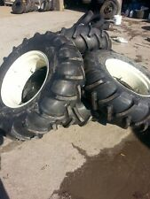 FOUR 14.9x24 John Deere, Ford 8 Ply Tubeless Easy Repair Tractor Tires on Wheels