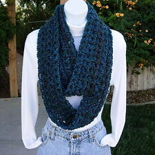 Dark Teal Blue Green INFINITY LOOP SCARF, Handmade Crochet Skinny Endless Cowl
