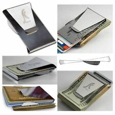 Fashion Stainless Steel Slim Money Clip Double Sided Credit Card Holder Wallet