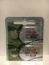 2 Pack 394 Maxell Sr936sw Battery Watch Batteries Sr936 1 Silver Oxide X New