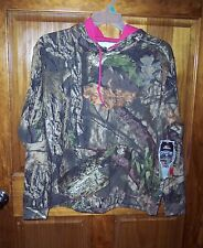 MOSSY OAK HOODED SWEATSHIRT CAMO PULL OVER HOODIE W/PINK ACCENTS WOMEN'S SIZE XL