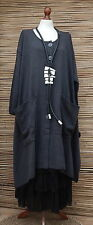 "LAGENLOOK COTTON MIX OVERSIZE CARDIGAN/COAT*CHARCOAL*BUST UP TO 60""OSFA XL-XXXL"