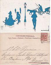 # C.L. MELINA - dis. LA CITTA' IN SILHOUETTE BLU - serie 408   1902