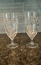 Shannon Crystal- 2 Ice Tea Water Glasses - Palm Beach Design- 14 oz.