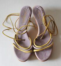 Chanel Leather CC Logo Lace Up Open Toe Wood Sandals Shoes Sz 39.5