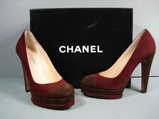 CHANEL PLUM CHOCOLATE SUEDE CAP TOE PLATFORM CC CLASSIC PUMPS 37.5/6.5 NEW$1202