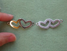 10 love heart connector joiner wholesale antique tibetan silver style links