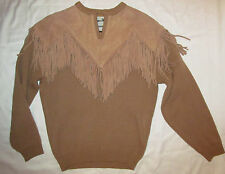 vintage 70's PIONEER WEAR beige tan fringe leather  western country knit sweater