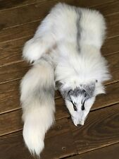 WHITE MARBLE X Fox Fur Pelt Skin Taxidermy Tanned Log Cabin Decor coyote Scarf