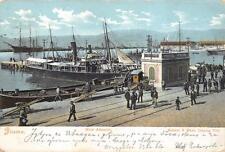 A874) CROAZIA, FIUME (RJEKA), IL MOLO ADAMICH AFFOLLATO. VIAGGIATA NEL 1905.