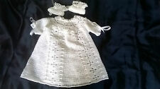 White  2 ply hand crocheted long Dress 16 inch chest size & Bootees