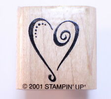 Stampin Up 2001 Romantic Swirl Heart Wooden Rubber Stamp