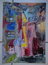"""Art Brut Singulier Outsider Raw """" Un Quartier de Montmartre la Nuit"""" A3 Marjan"""