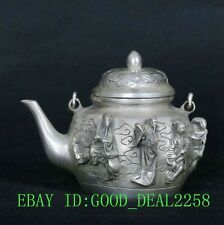 Tibet Tibetan Silver Copper Hand-Carved Ba Xian Teapot Pot w Qianlong Mark