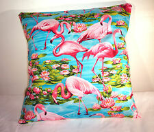 "BRAND NEW  BRIGHT PINK FLAMINGOES COTTON  CUSHION COVER 16""x16"""