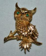 Vintage Monet Shiny Gold Detailed Owl Pin With Green Eyed & Standing On Branch