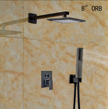 Oil Rubbed Bronze Shower Faucet 8 inch Rainfall With Hand Spray Shower Mixer Tap