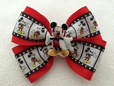 """Girls Hair Bow 4"""" Wide Mickey Mouse Ribbon Red Flatback French Barrette"""