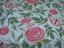 3 Yards Quilt Cotton Fabric - ITB Wendy Slotboom Roo Butterflies & Roses Pink