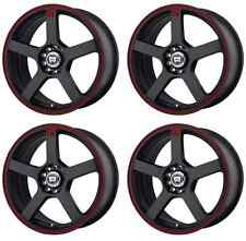 MOTEGI RACING MR116 MR11667046740 RIMS SET OF 4 16X7 40MM OFFSET 5X112 BLACK/RED
