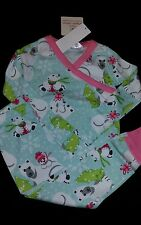 NWT HANNA ANDERSSON GIRLS LONG JOHNS PAJAMAS BEAR CHRISTMAS 90