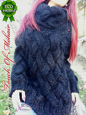 Hand Knitted Mohair Sweater Unisex Thick Fuzzy Jumper Black by Touch_of_ Mohair
