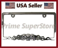 Chrome Metal Skull & Flames Black Eyes License Plate Frame Car Steel Tag Holder