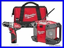 "New Milwaukee 2492-22 M12 Combo Kit 3/8"" Drill /  Driver & Radio Free Shipping"