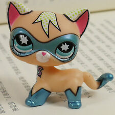 RARE  CAT KITTY WITH COMIC HERO MASK LITTLEST PET SHOP LPS mini Action Figures #