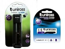 1 x 18650 Rechargeable Battery & Smart Charger by UNiROSS 2400 mAh
