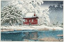 HASUI  JAPANESE Woodblock Print SHIN HANGA Snow at Benten Shrine ,Inokashira