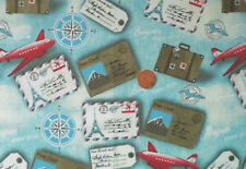 BLUE WITH A DESIGN OF PLANES,LUGGAGE,TICKETS ETC.-100% COTTON FABRIC FQ