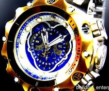 Mens Invicta Reserve Venom Hybrid Swiss Master Calendar Gold Tone Blue Watch New