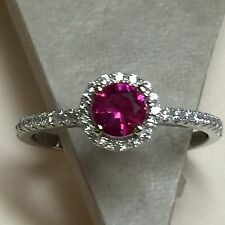 Round 1ct Ruby White Sapphire  925 Solid Sterling Silver Solitaire Ring sz 7.75