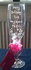 PERSONALISED GLASS ENGRAVED CHAMPAGNE FLUTE BIRTHDAY GIFT 21st 18th 40th  Custom