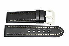 22MM BLACK THICK STITCHED LEATHER WATCH BAND STRAP FITS LUMINOX 3001