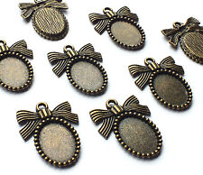 8 x Bronze Oval Cabochon/Cameo Mini Picture Frame Charm Settings with Ribbon Bow